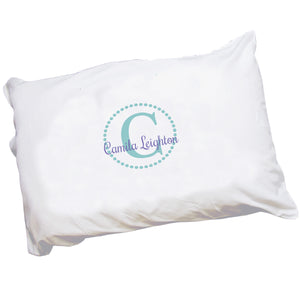 Personalized Childrens Pillowcase with Teal Circle design
