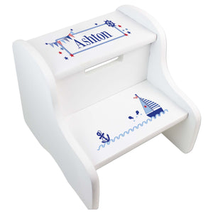 Personalized Sailboat White Step Stool