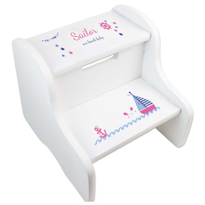 Personalized Girl's Sailboat White Two Step Stool