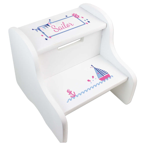 Personalized Pink Sailboat White Two Step Stool