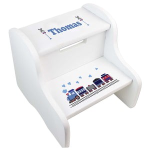 Personalized Train White Step Stool