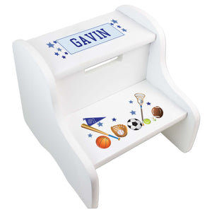 Personalized Sports White Step Stool