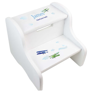 Personalized Boys Airplane White Step Stool