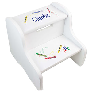 Personalized Crayon White Two Step Stool
