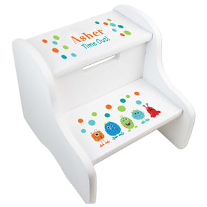 Personalized Monster White Two Step Stool