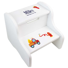 Personalized Firetruck White Two Step Stool