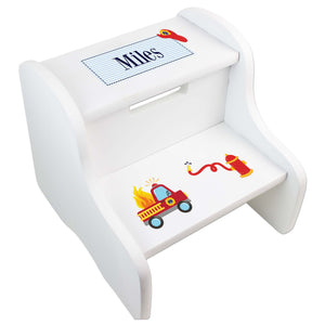 Personalized Boys Fire Truck White Step Stool