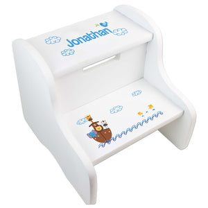 Personalized Noahs Ark White Two Step Stool
