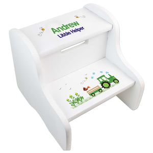 Personalized Green Tractor White Step Stool