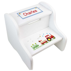 Personalized Red Tractor White Two Step Stool