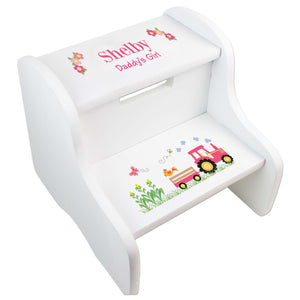 Girl's White Pink Tractor Two Step Stool