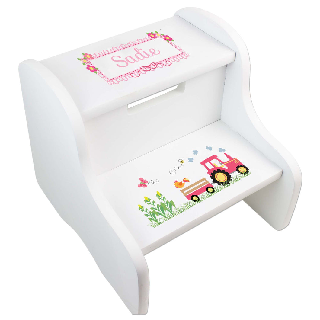 Personalized White Step Stool With Pink Tractor Design