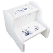 Personalized Blue Rock Star White Two Step Stool