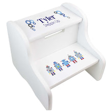 Personalized Robot White Step Stool