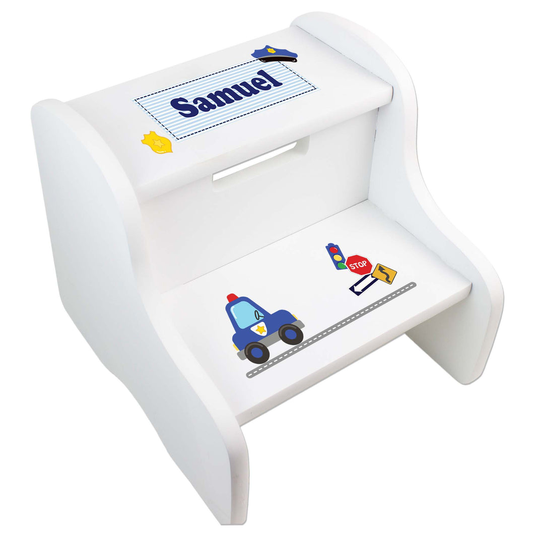 Personalized Boys Police White Step Stool