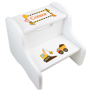 Personalized Boys Construction White Step Stool