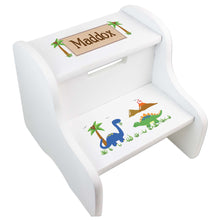 Personalized Dinosaur White Step Stool