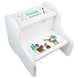 Child's White North Woodland Two Step Stool