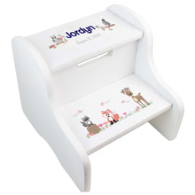 Child's White Gray Woodland Two Step Stool