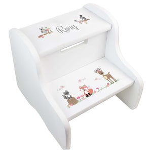 Personalized Gray Woodland Critters White Two Step Stool
