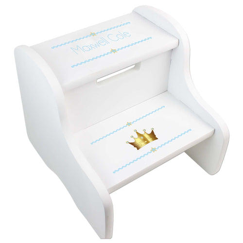 Personalized Prince Crown Blue White Two Step Stool