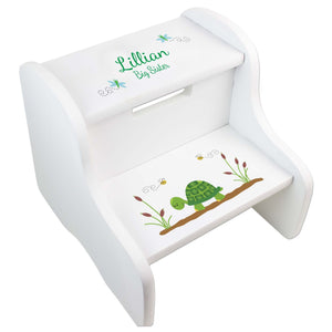 Child's White Turtle Two Step Stool