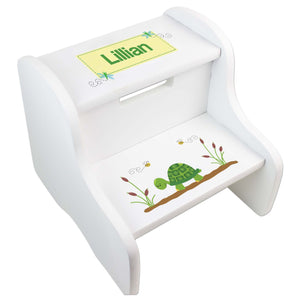 Personalized Turtle White Two Step Stool