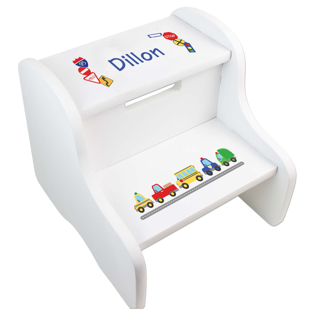 Personalized Cars And Trucks White Step Stool