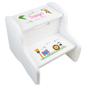 Child's White Jungle Animal Two Step Stool