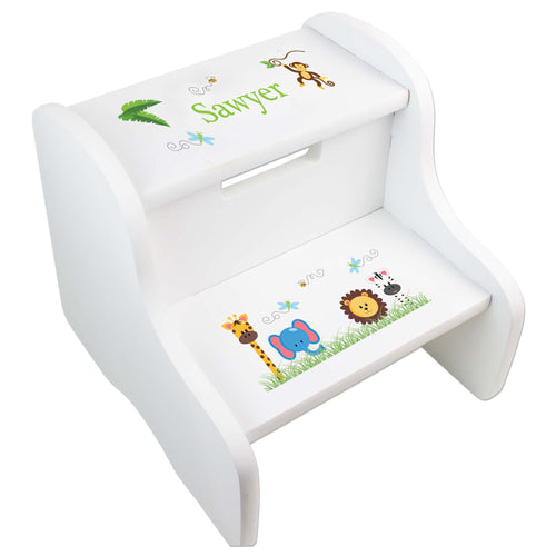 Personalized White Step Stool With Jungle Animals Boy Design