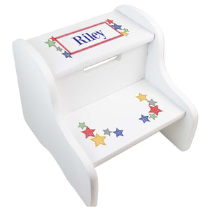 Personalized Stitched Stars White Two Step Stool