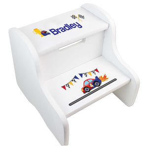 Personalized White Step Stool With Race Cars Design