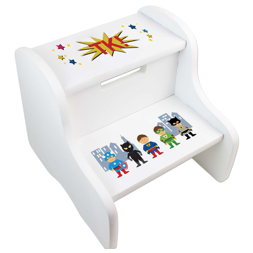 Personalized Boys Super Hero White Two Step Stool