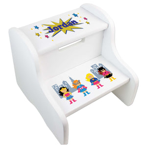 Personalized Girls Superhero White Two Step Stool