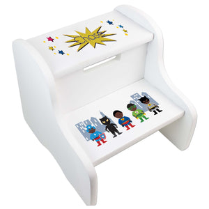 Personalized White Step Stool With African American Super Hero Design