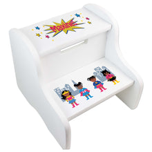 Personalized White Step Stool With Super Hero Girl African American Design