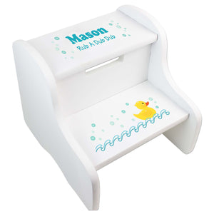 Child's White Rubber Ducky Two Step Stool