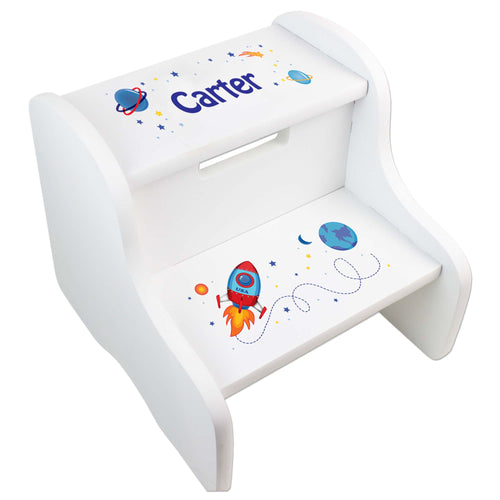 Personalized Rocket White Step Stool