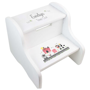 Child's White Pastel Barnyard Two Step Stool