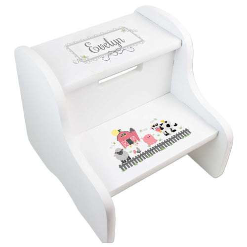 Personalized Barnyard Friends White Two Step Stool