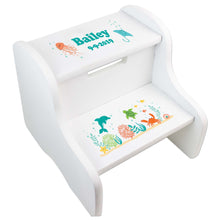 Child's White Sea Life Two Step Stool