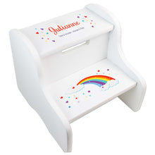 Child's White Rainbow Two Step Stool