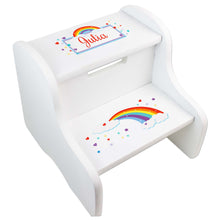 Personalized Rainbow White Two Step Stool