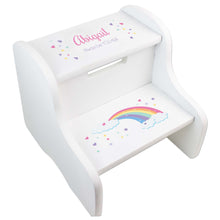 Child's White Pastel Rainbow Two Step Stool