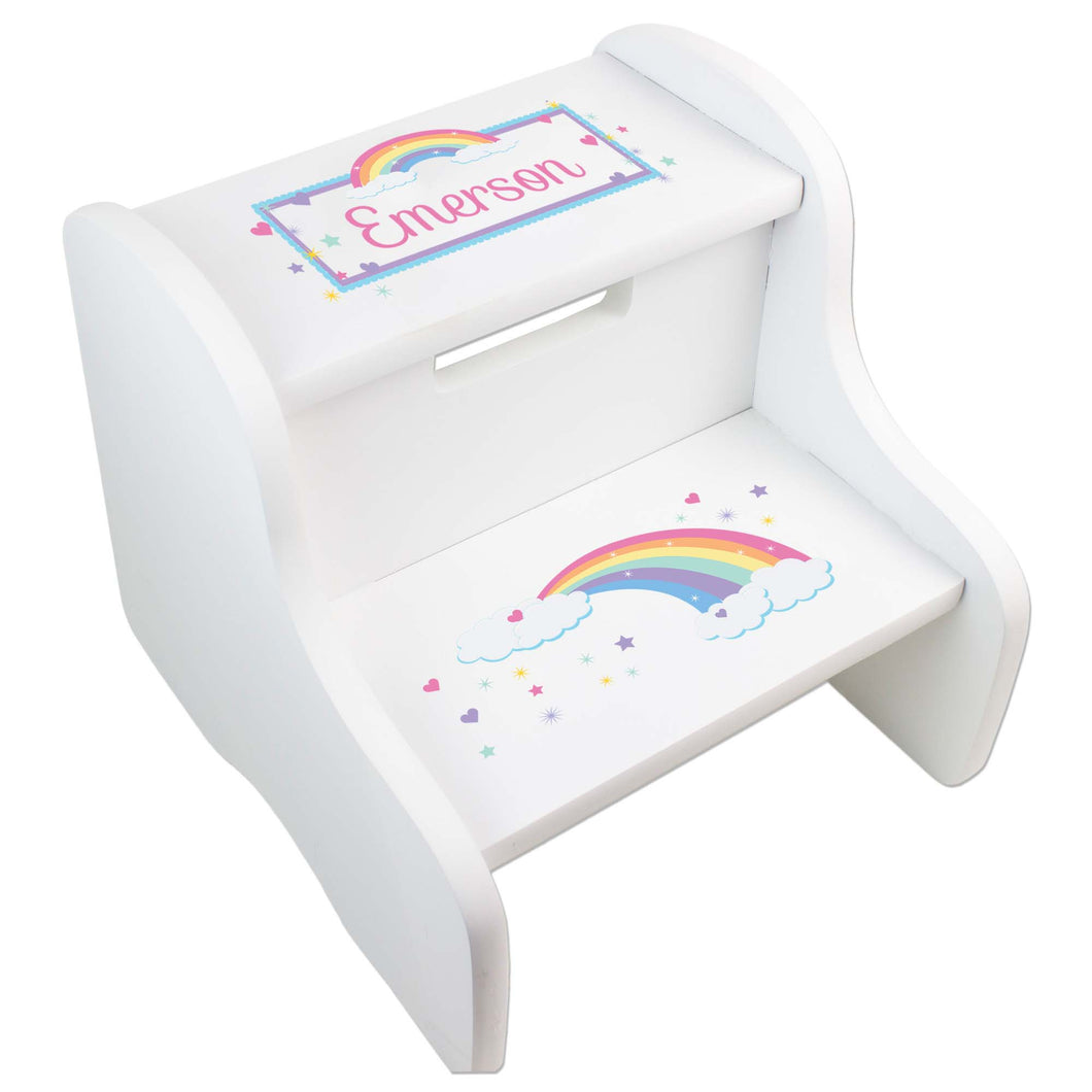 Personalized White Step Stool With Pastel Rainbow Design