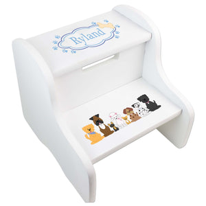 Personalized Blue Dogs White Two Step Stool