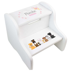 Personalized Pink Dogs Two Step Stool