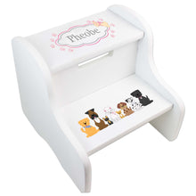 Personalized Pink Dog White Two Step Stool