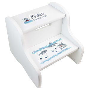 Boy's White Shark Two Step Stool