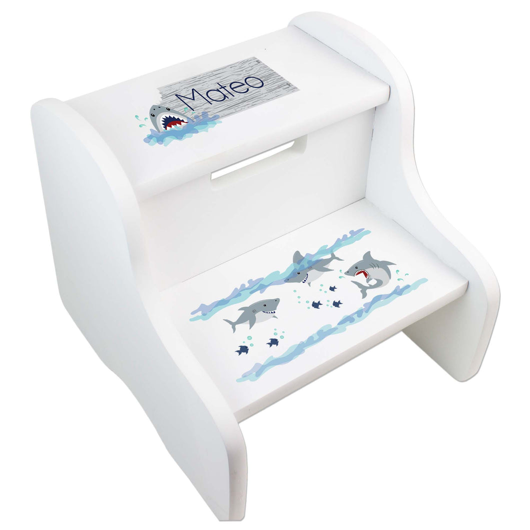 Personalized Shark Tank White Two Step Stool